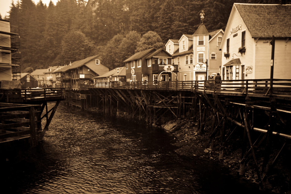 View of boardwalk and stores on Creek Street in downtown Ketchikan.