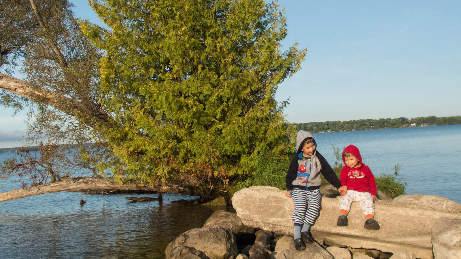 A young boy and a toddler hold hands while sitting on rocks near a tree and lake - Mara Provincial Park