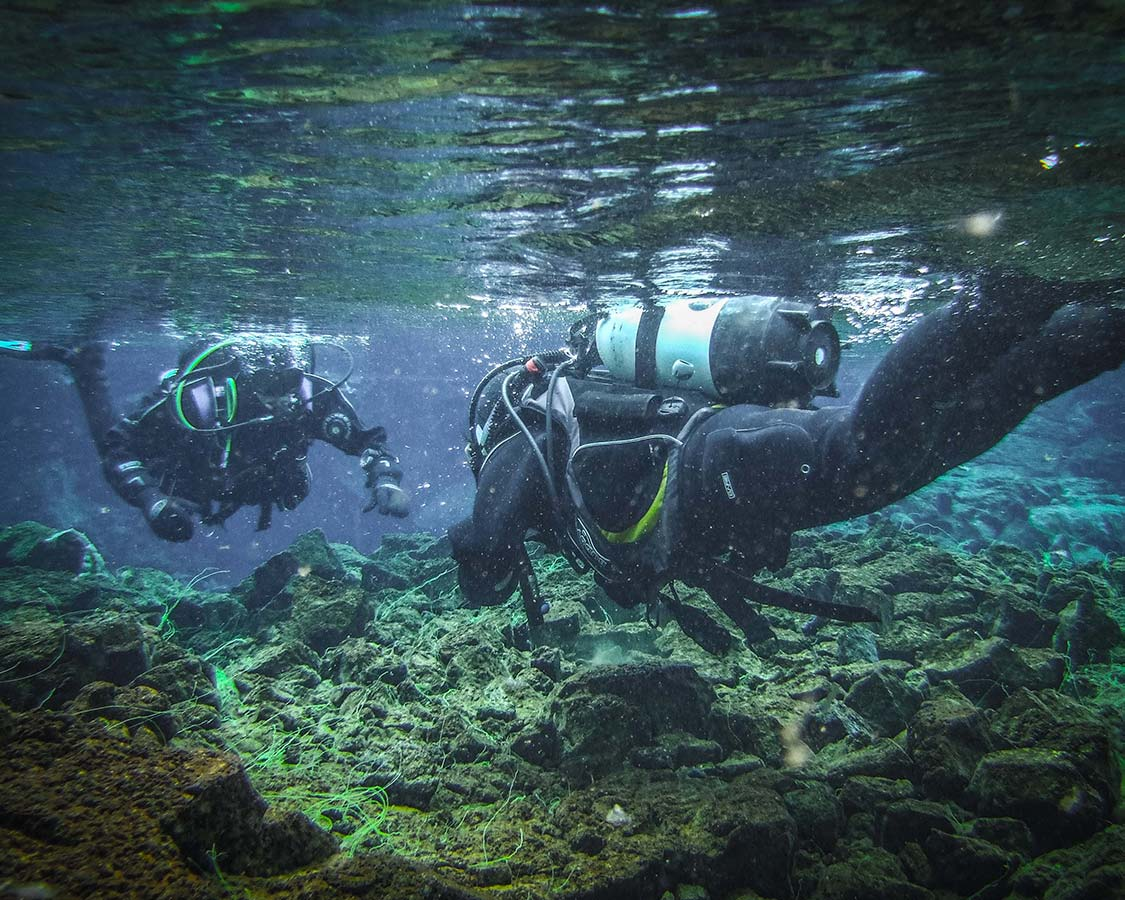 SCUBA diving the Silfra Fissure in Iceland