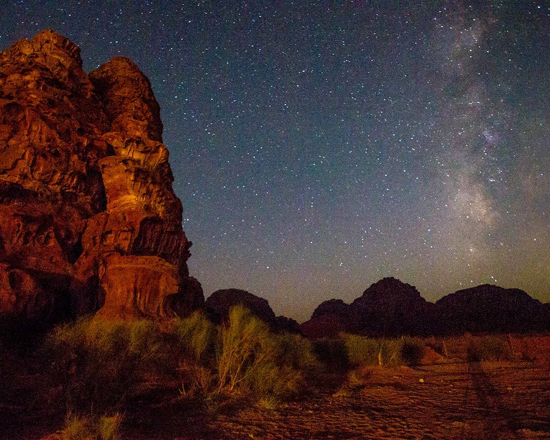Stars and Milky Way over Wadi Rum Jordan