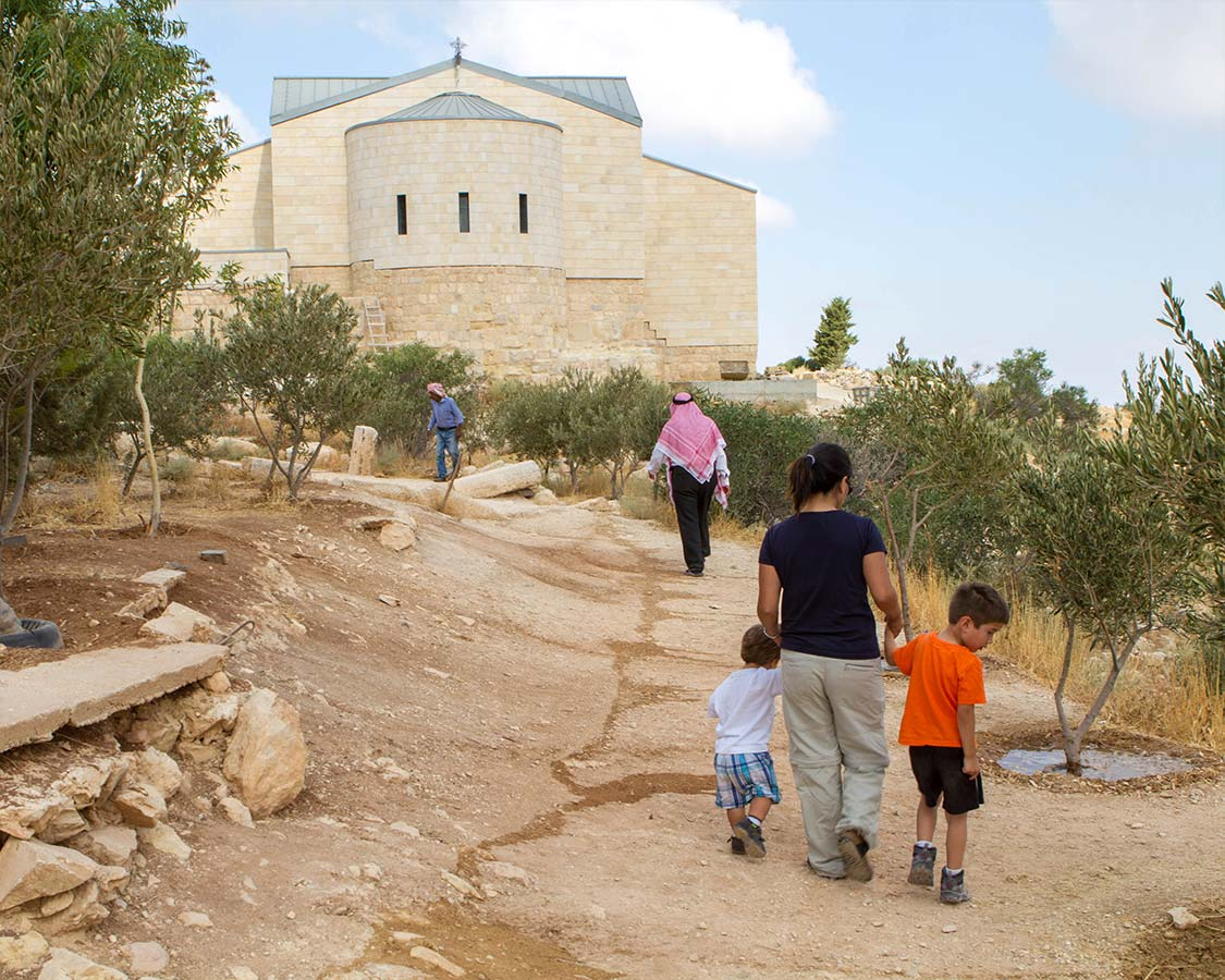 Walking to the church at Mount Nebo Jordan