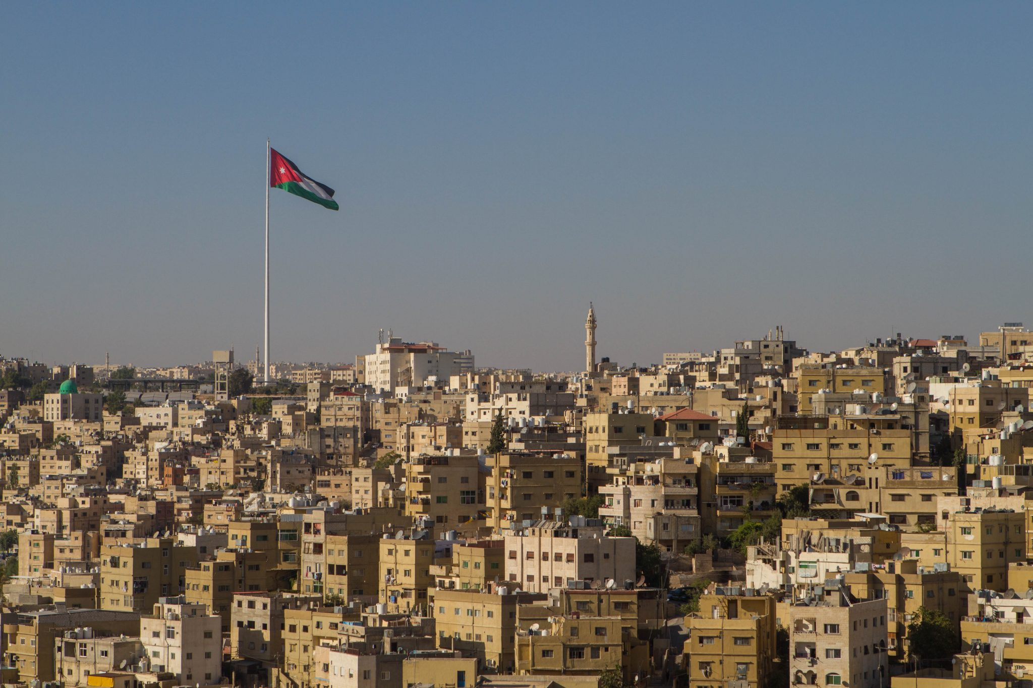 Jordanian flag flying over Amman