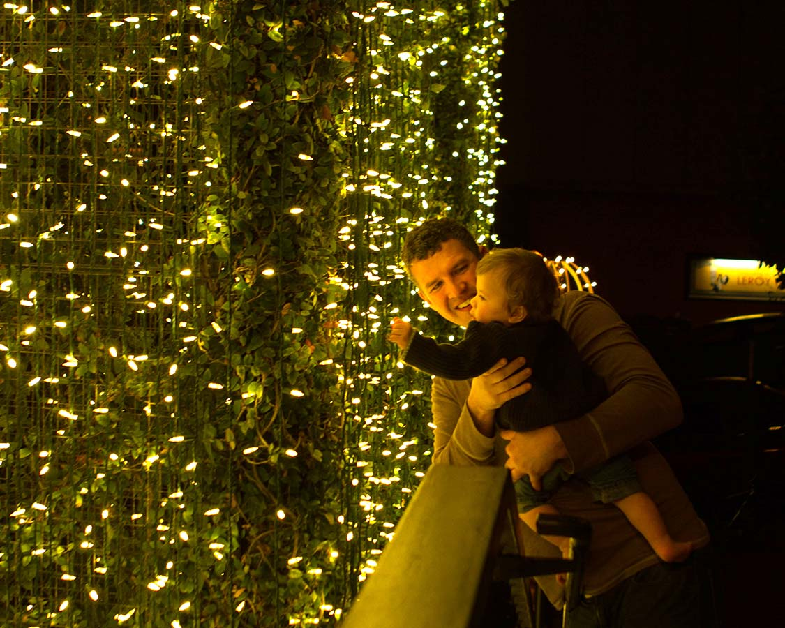 Lights at Ghirardelli Square in San Francisco California with kids