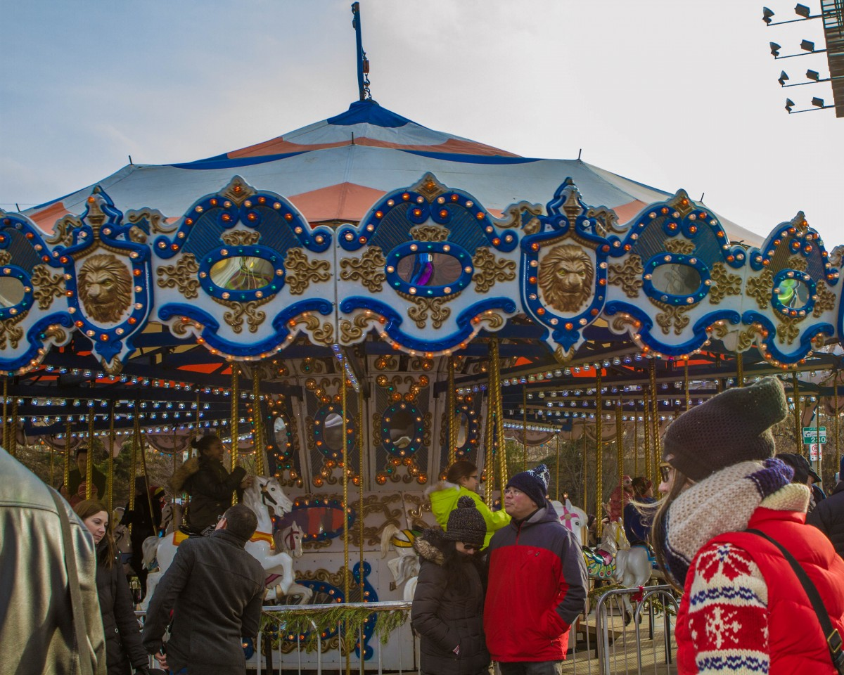 Merry-go-round at the Toronto Christmas Market in the historic distillery district