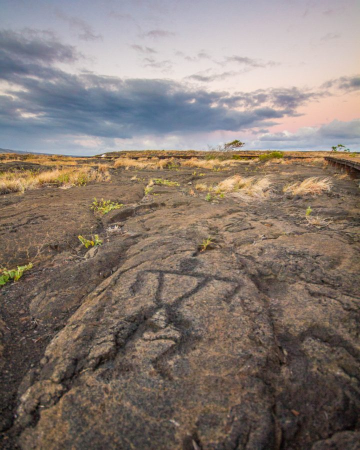 A carving of a man in Pu'u Loa Petrogylph Trail in Hawaii Volcanoes National Park.