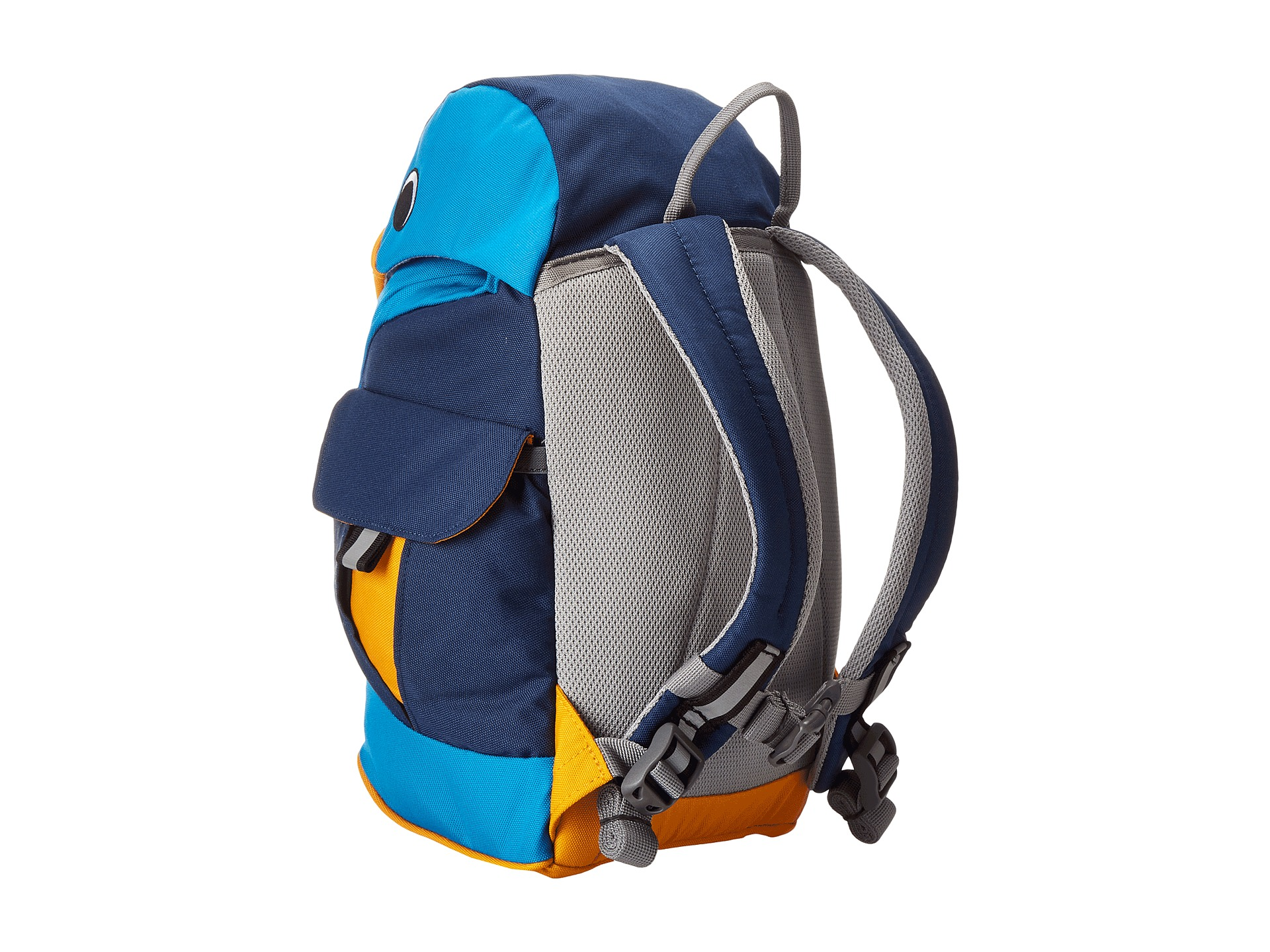 A blue children's backpack viewed from the back