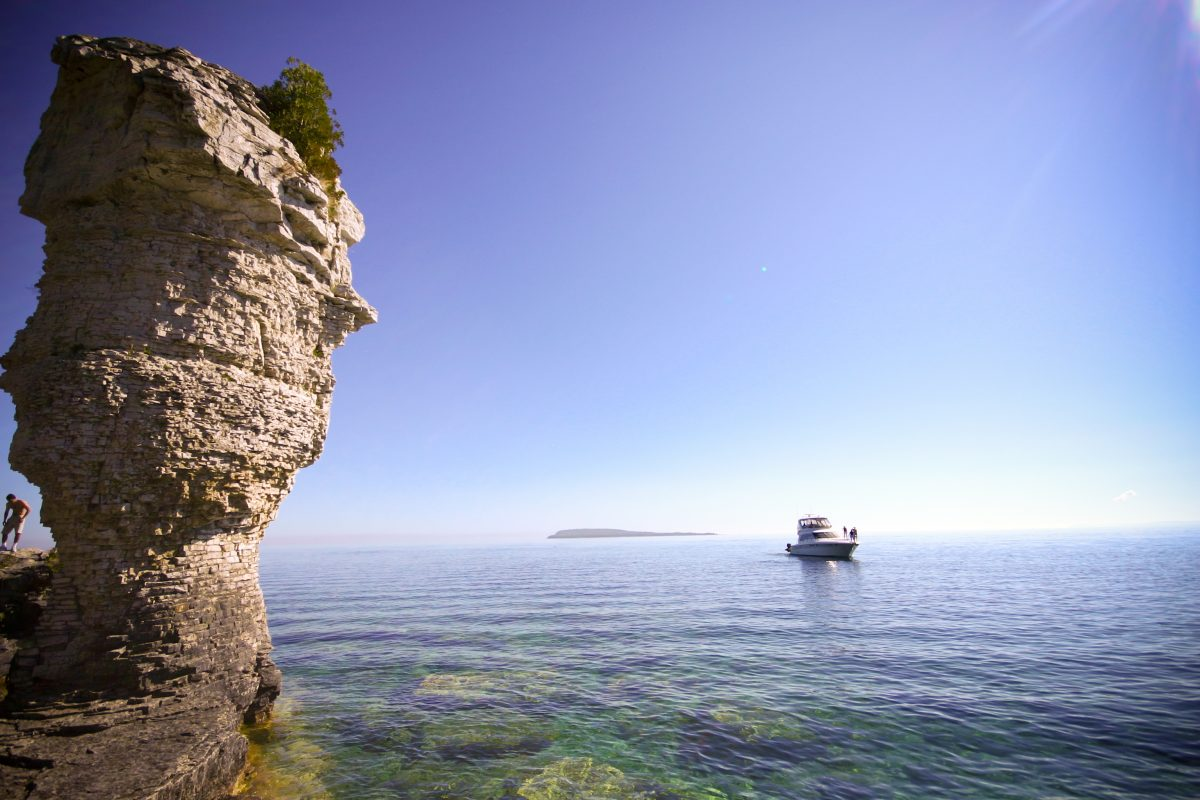 View of rock towers and lake surrounding Flowerpot Island.