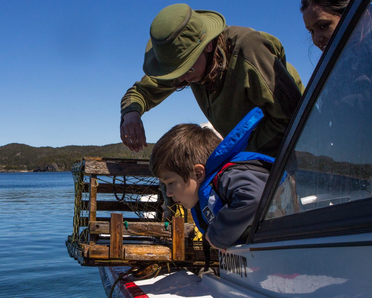 A woman wearing a hat checks a lobster trap on a boat while a young boy wearing a life jacket looks on - Icebergs in Twillingate