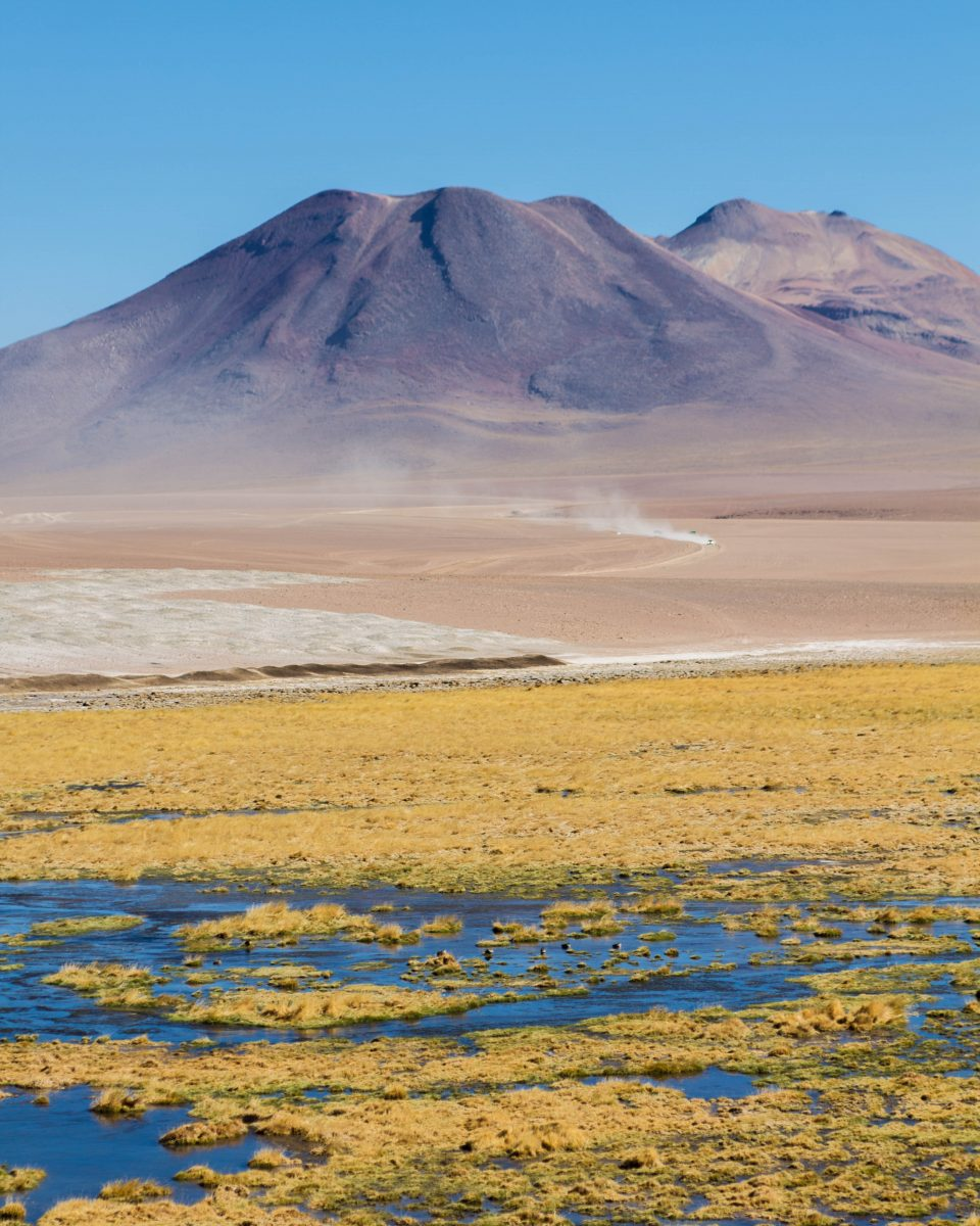 View of Andes mountains which house the El Tatio Geyser Field.
