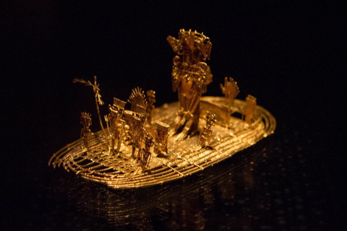 An intricate piece made of solid gold on display at the Gold Museum in Bogota Colombia.