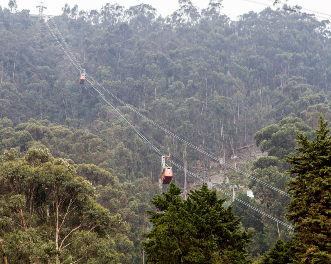 Cable car on the move as it heads to the top of Monserrate.