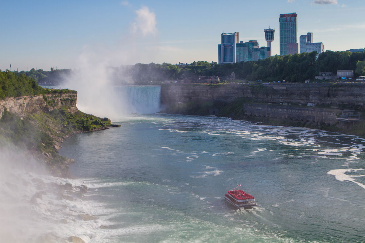The Hornblower cruise heads towards the Horseshoe Falls in Niagara Falls - Exploring Niagara Falls