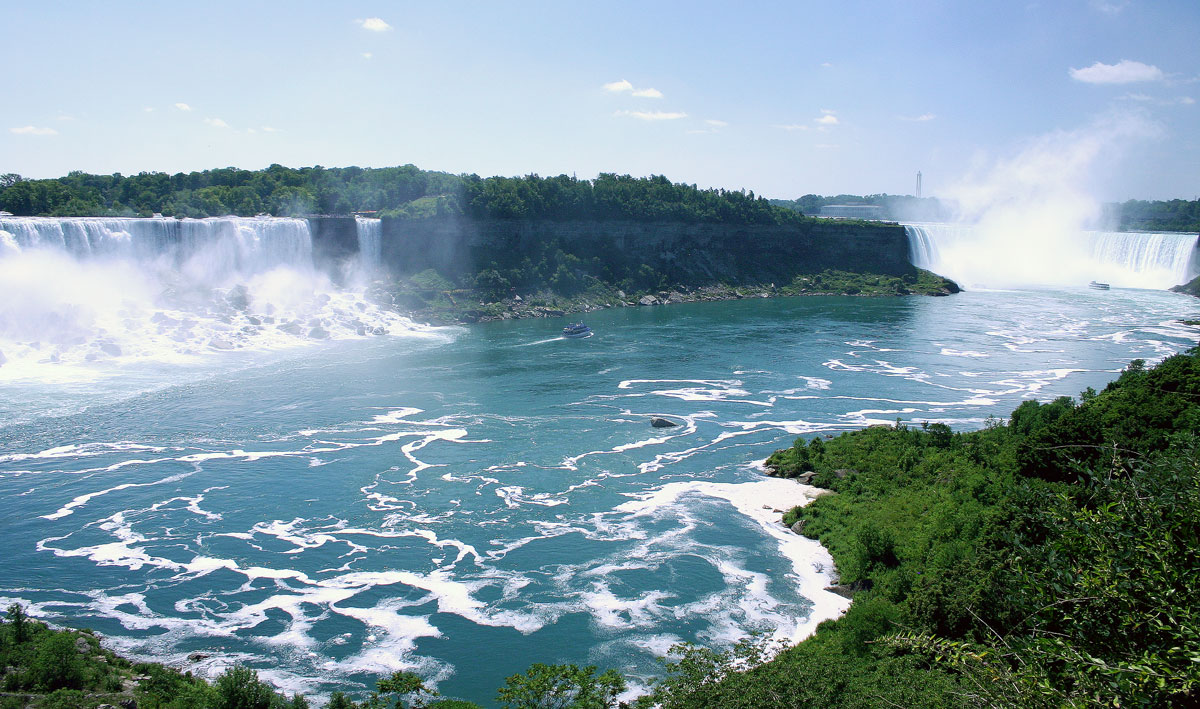 Niagara falls showing the Horseshoe Falls, Bridal Veil Falls and American Falls (right to left) - Exploring Niagara Falls