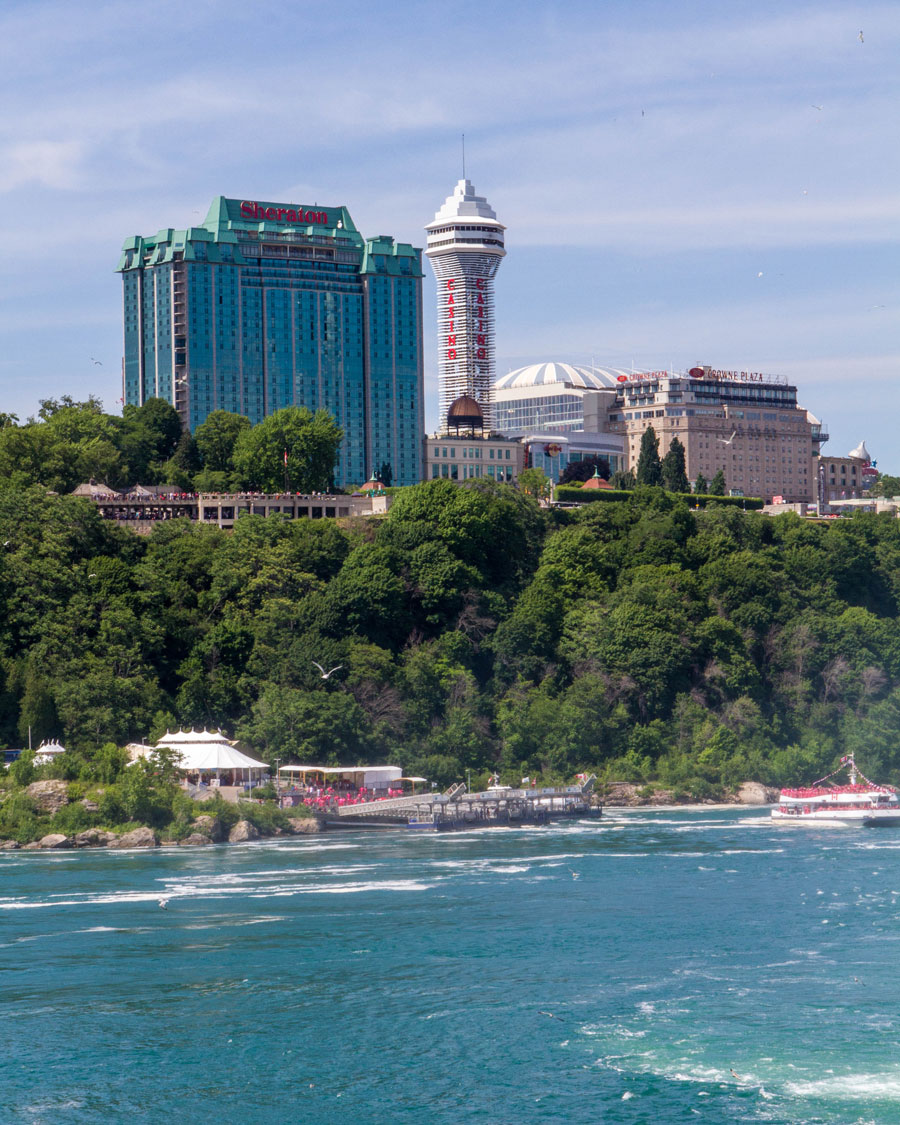 Hotels and a Casino overlooking Niagara Falls in Ontario - Exploring Niagara Falls