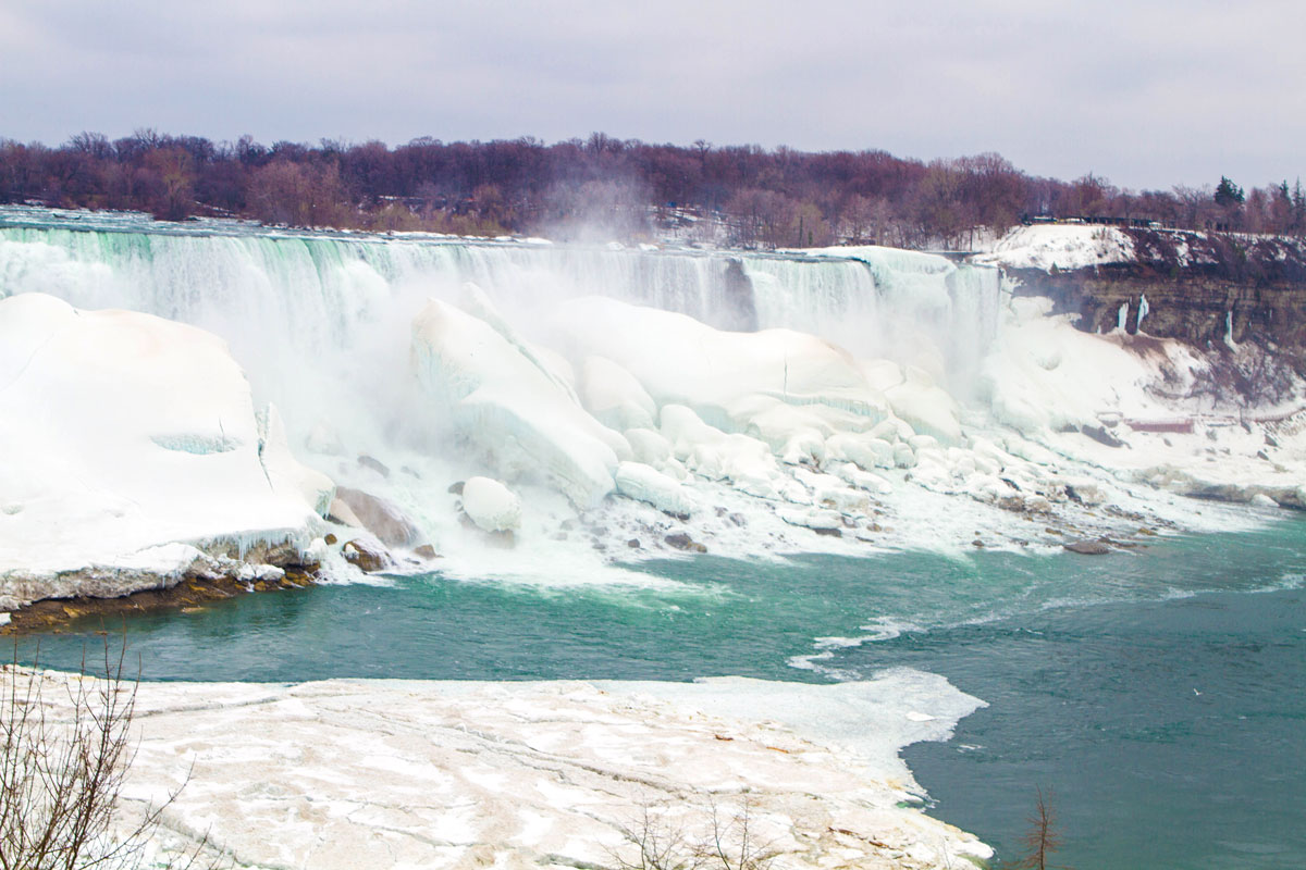 A partially frozen Niagara Falls - Exploring Niagara Falls