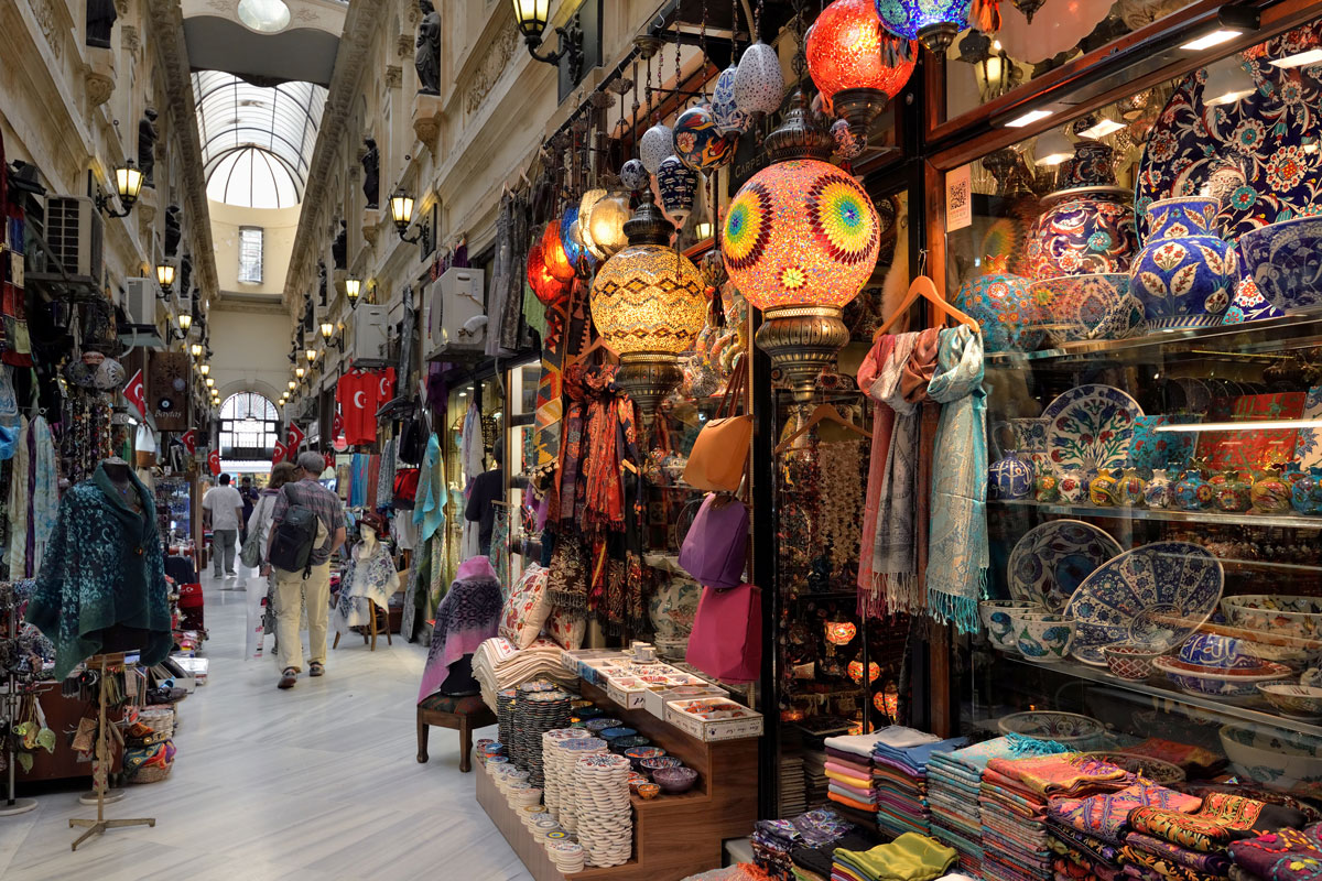 A market with lamps, clothing and trinkets - plan international family vacations
