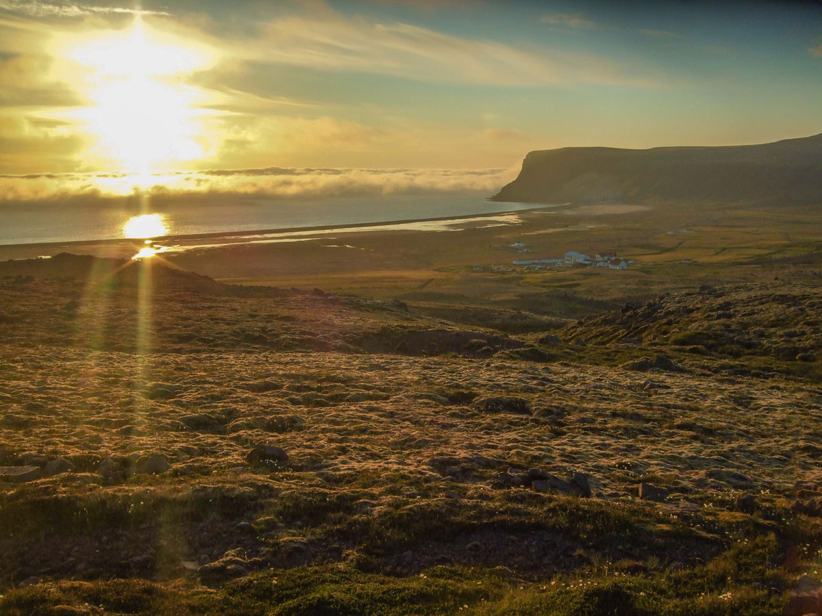 A beautiful sunset over the Icelandic coastline