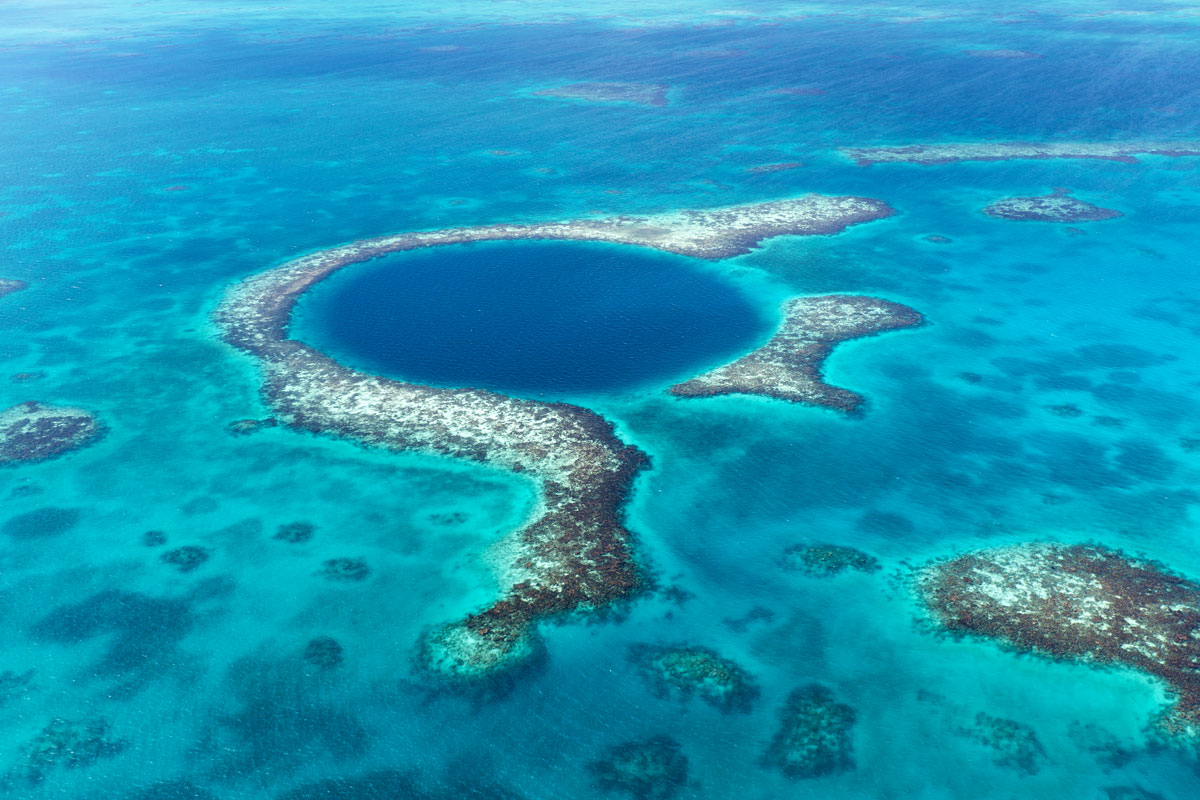 Aerial view of the famous Blue Hole in Belize.