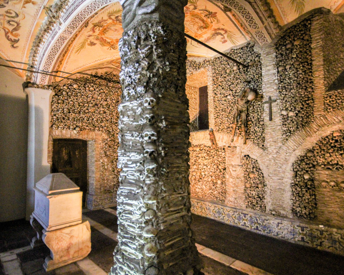Inside the Bone Chapel in Evora, Portugal.