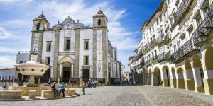 The main square of Evora, Portugal