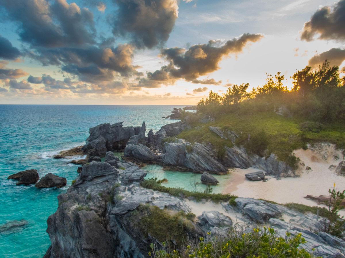 Sunset over Port Royal Cove near Horseshoe Bay Beach in Bermuda