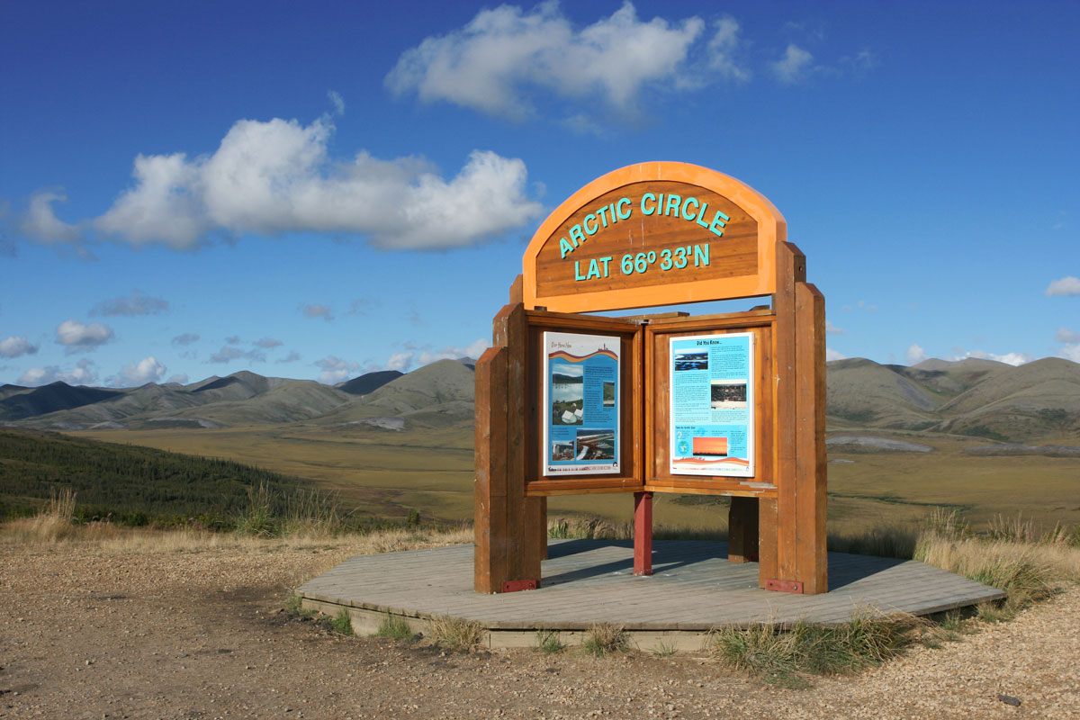 A sign showing the start of the arctic circle along the Dempster Highway