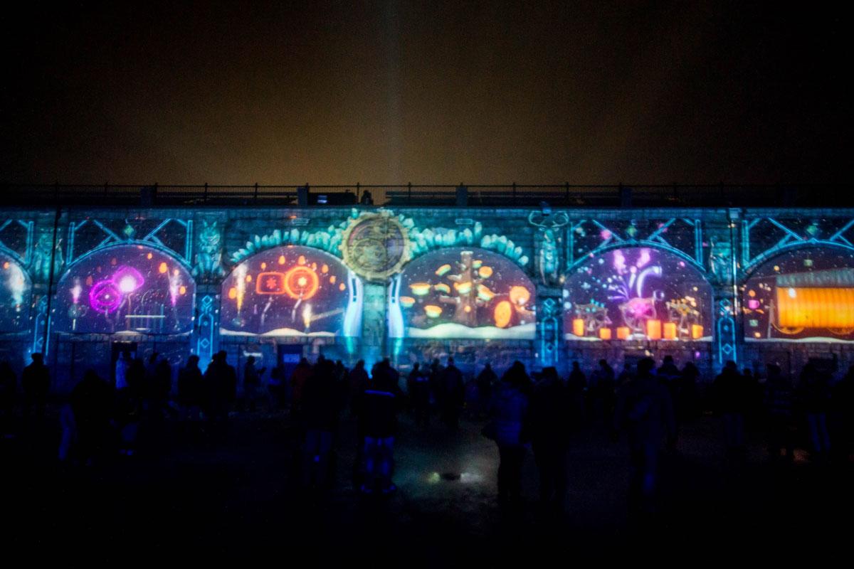 Games projected onto a wall at Lumina Borealis Kingston