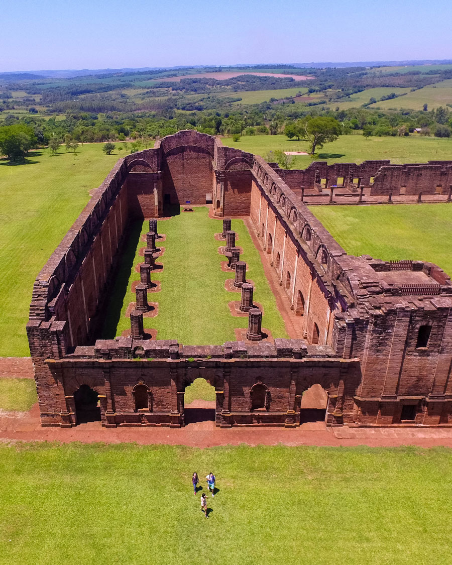 Aerial view showing the church and pillars of the Jesuit ruins of Jesus de Tavarrangue in Paraguay