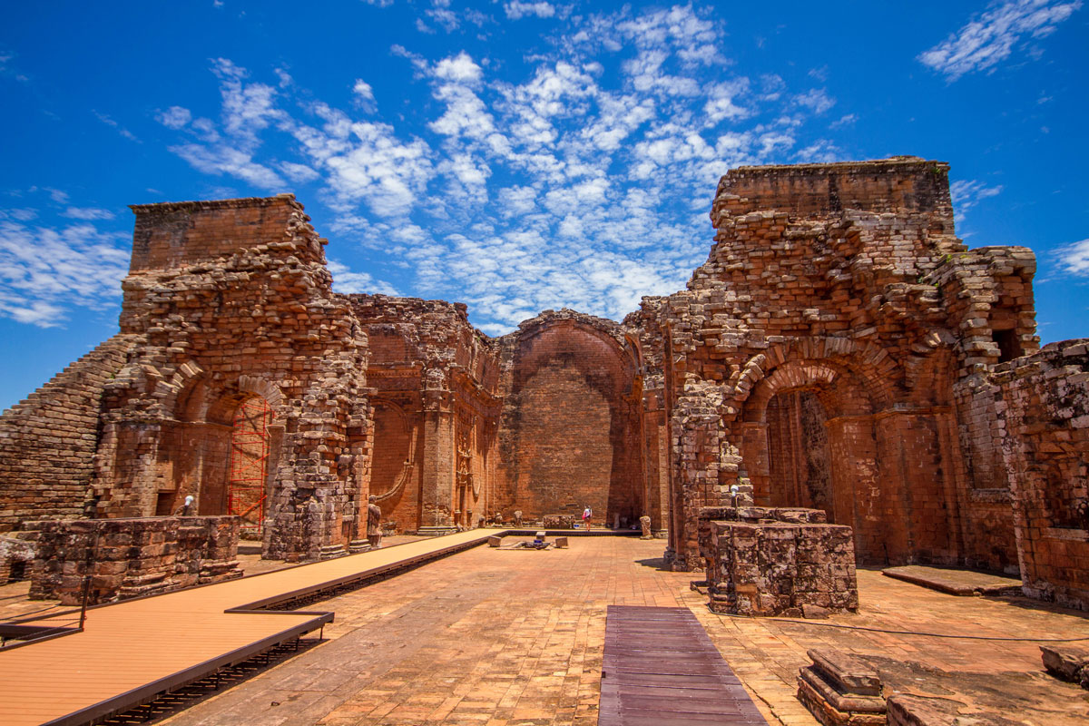 The crypts of tribal leaders line the centre of the church of Trinidad at the Jesuit ruins of la Santisima Trinidad de la Parana in Paraguay