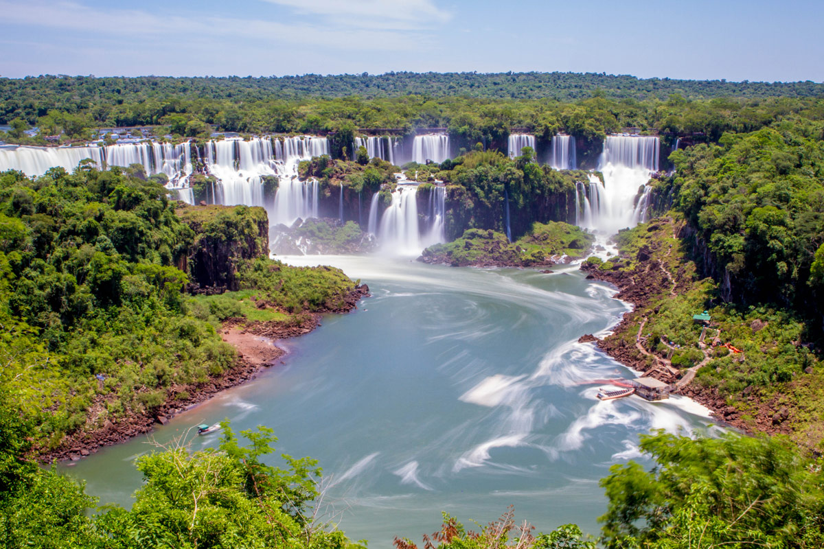 Panaroma of Iguazu Falls Brazil taken from the beginning of the Cataratas Trail.
