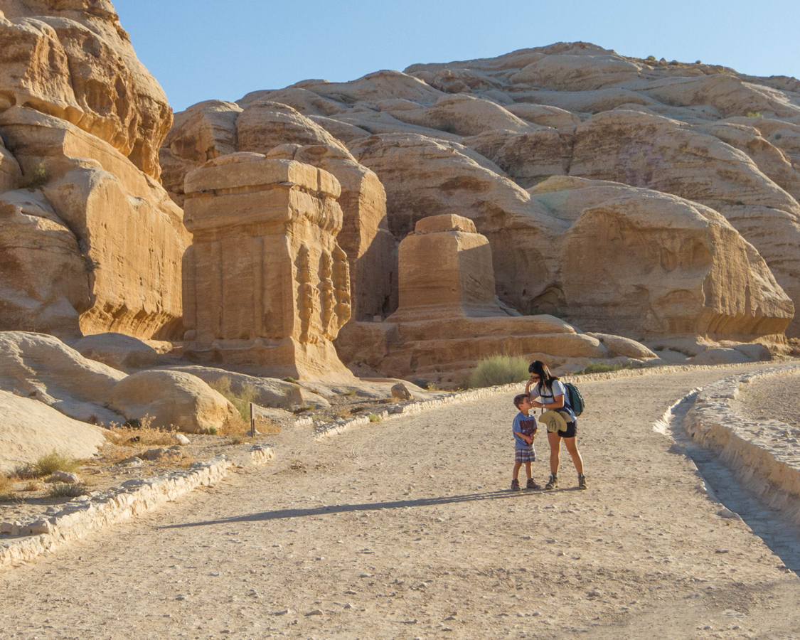 Petra for children Christina Wagar walks towards the Petra siq with her son
