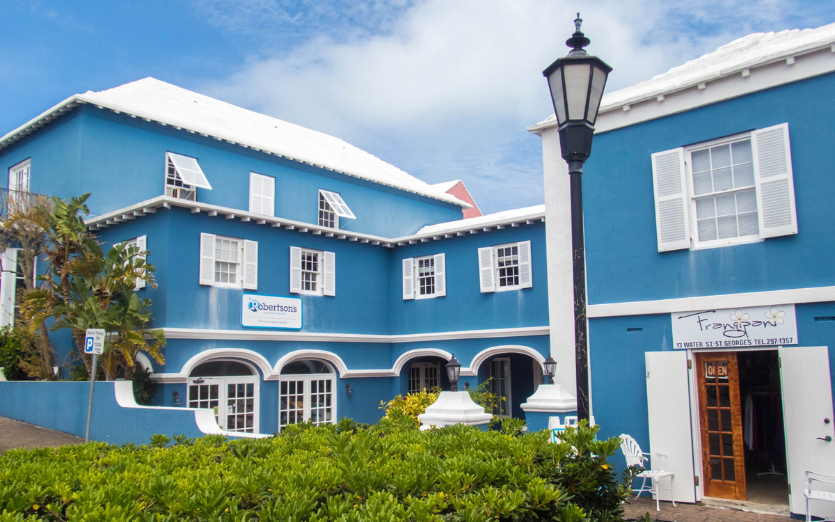 A colorful building in St George, Bermuda.