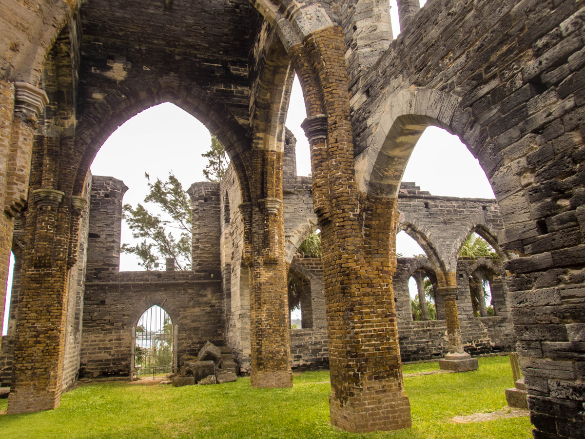 View of the inner areas of the Unfinished Church in St George Bermuda.