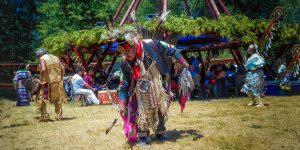 A First Nations elder dances at a Native Pow Wow on Manitoulin Island