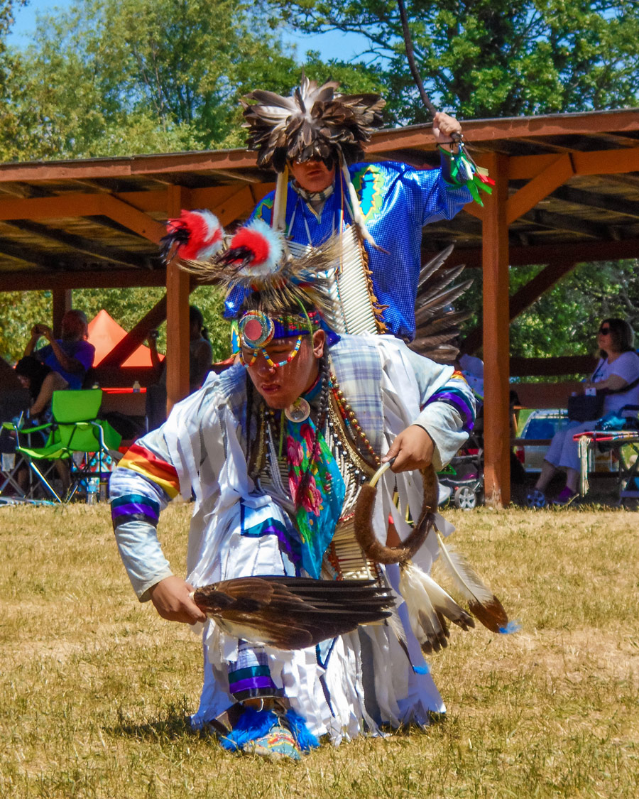 Native dancers in Regalia experience a First Nations Pow Wow in Ontario
