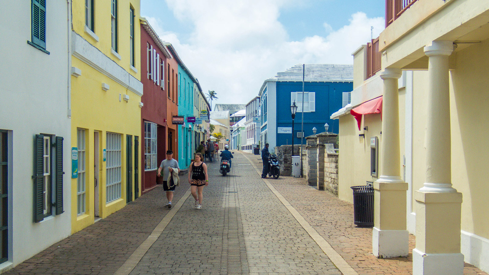 The colorful streets of St. George's Bermuda near the best Bermuda beach
