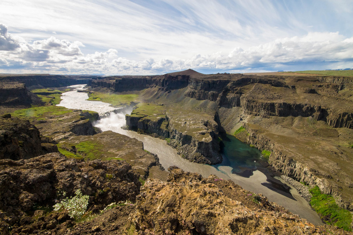 Dettifoss seen from the canyon wall in Iceland