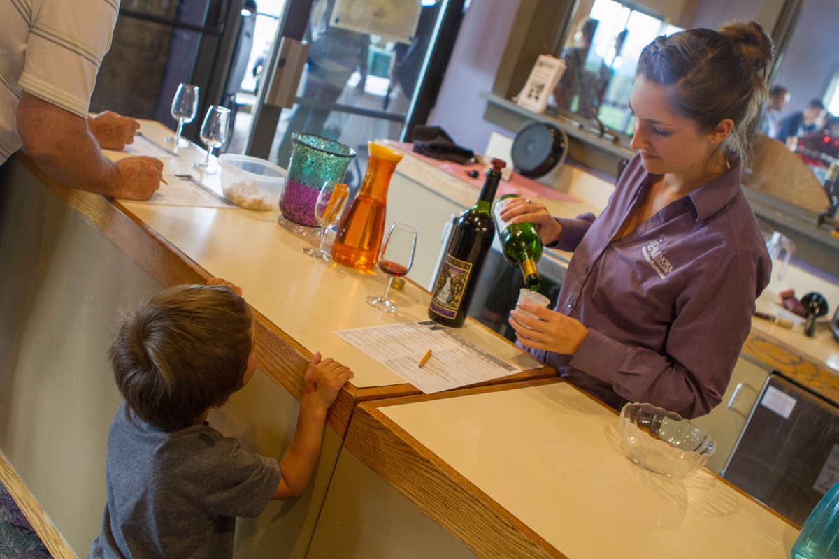 Boy learning all about the best fruit juices at Lakewood Vineyards in Watkins Glen.
