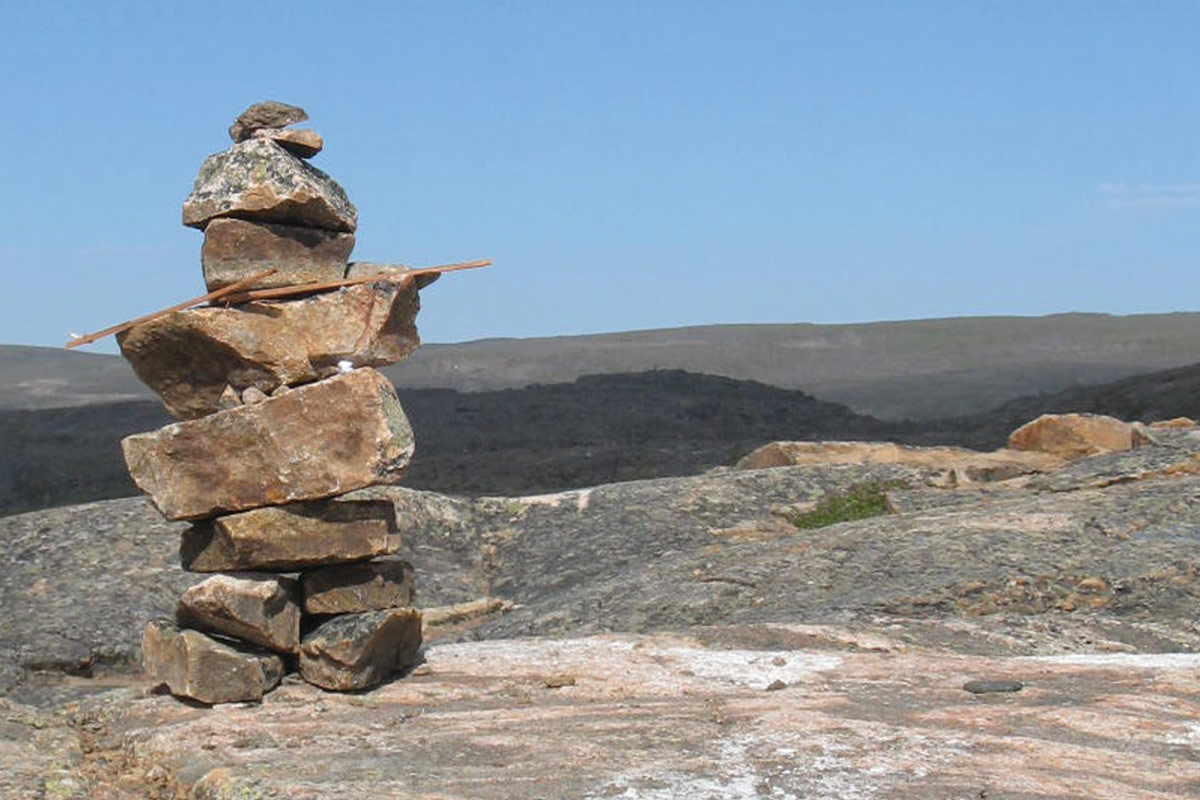 An inukshuk near Iqaluit Nunavut, one of the most amazing places in Canada