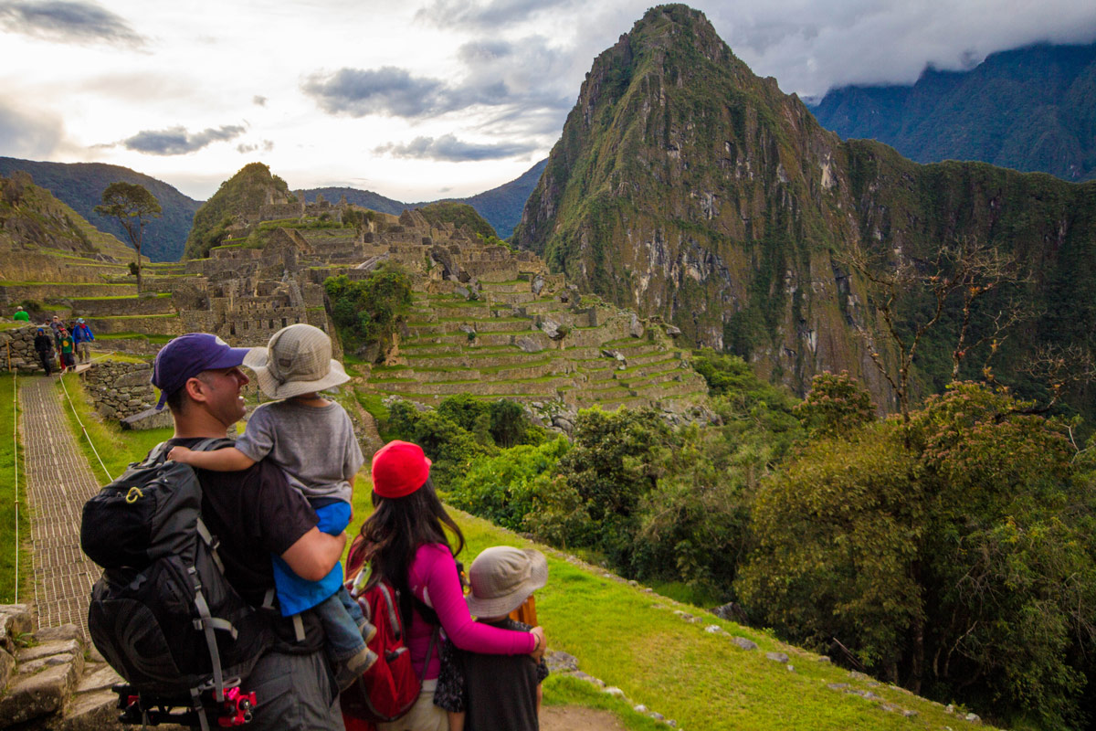Machu Picchu with kids - One last look before leaving Machu Picchu.