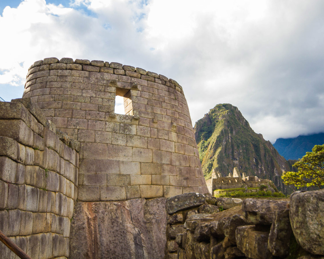 Peru with kids - Temple of the Sun at Machu Picchu.