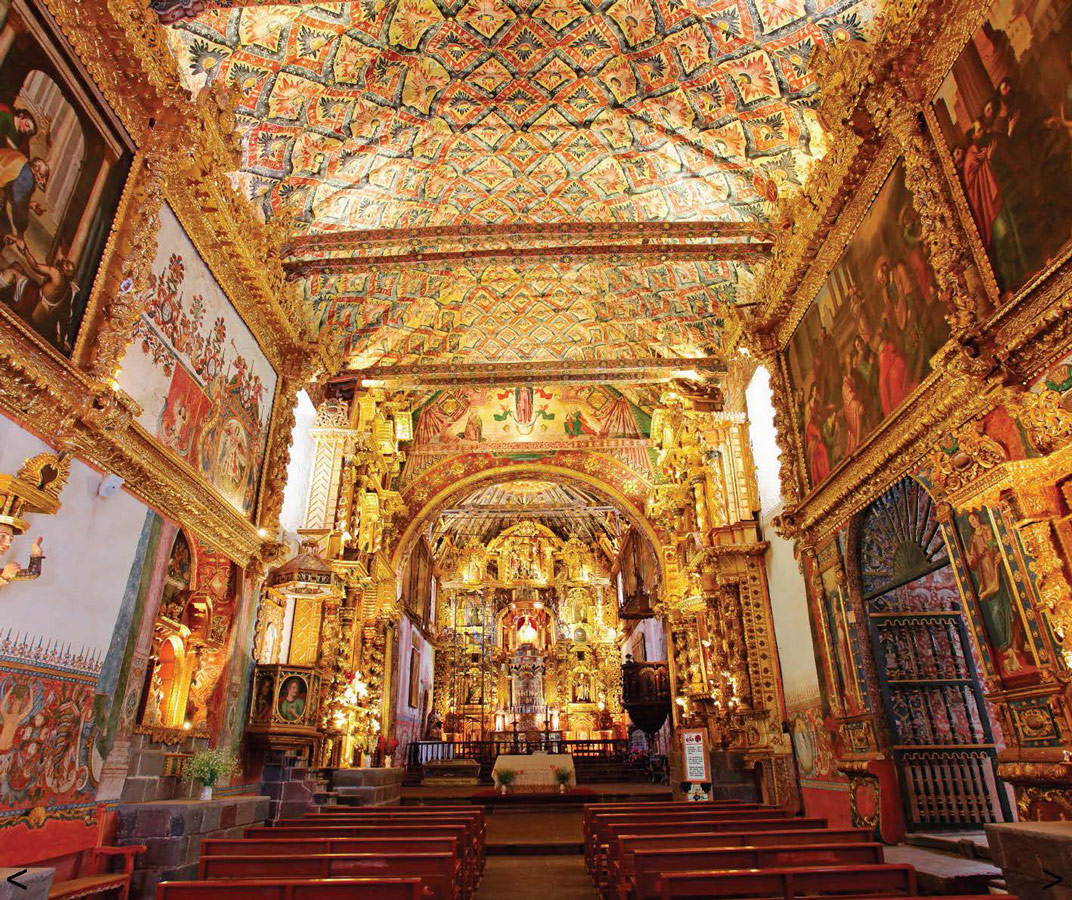 Inside of the Sistine Chapel of the Americas in Andahualillas Peru - Photo courtesy of Ruta del Barroco
