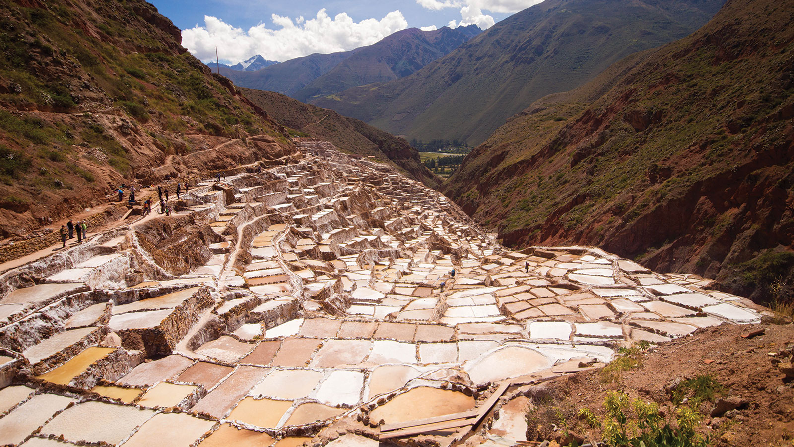 The salt pans of Moras line the Maras Canyon in the Sacred Valley of Peru