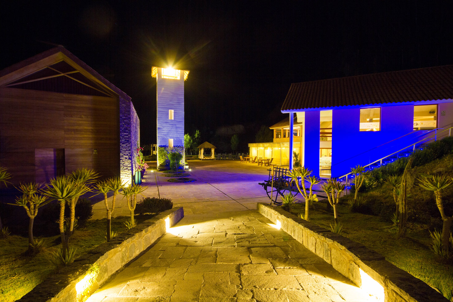 Hotel Colca Aranwa Valley del Colca lit up at night near Colca Canyon is the best hotel to stay before checking out the Andean Condors in Colca Canyon with kids