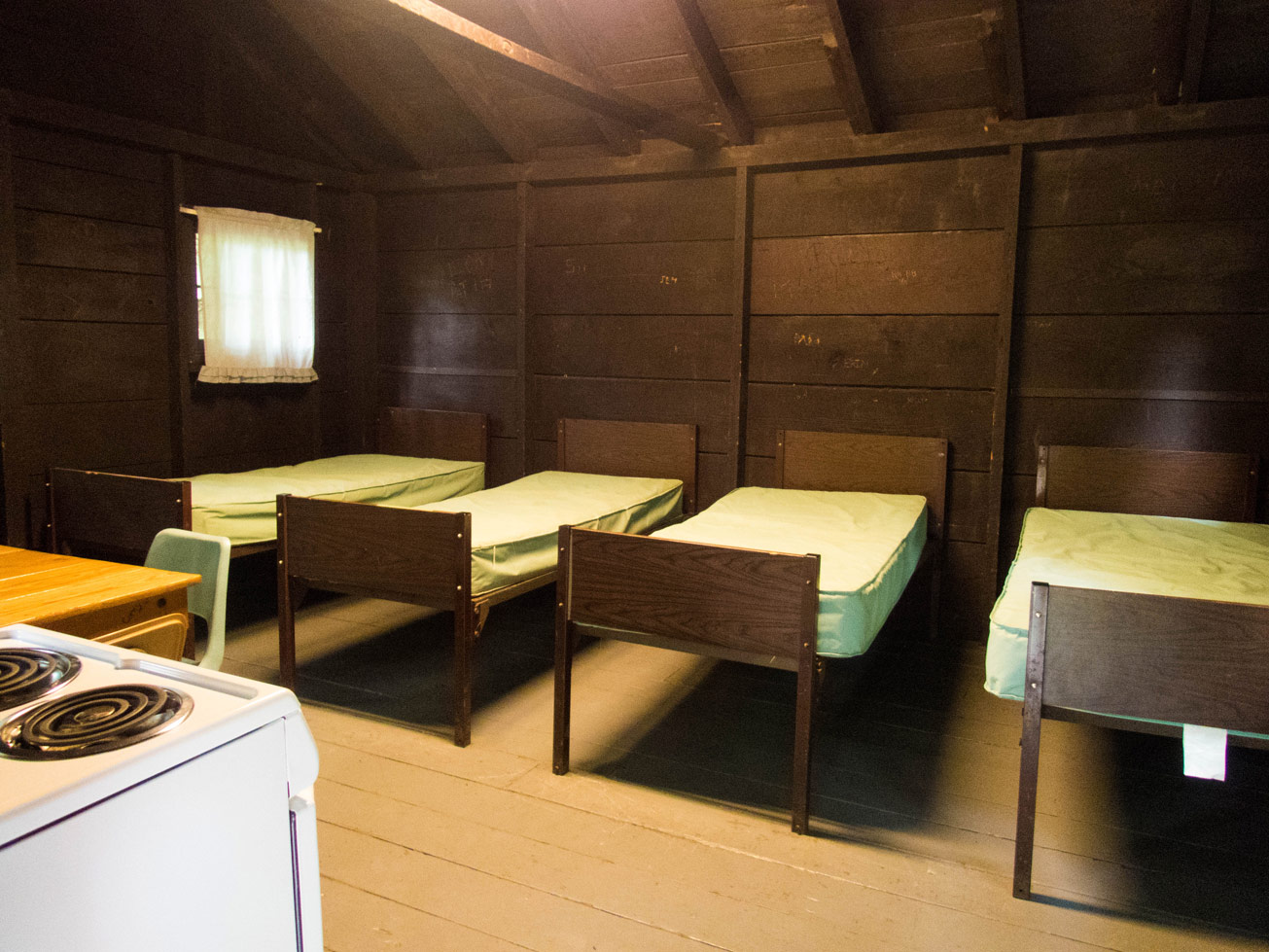 The beds of Cabin E in Letchworth State Park in New York State