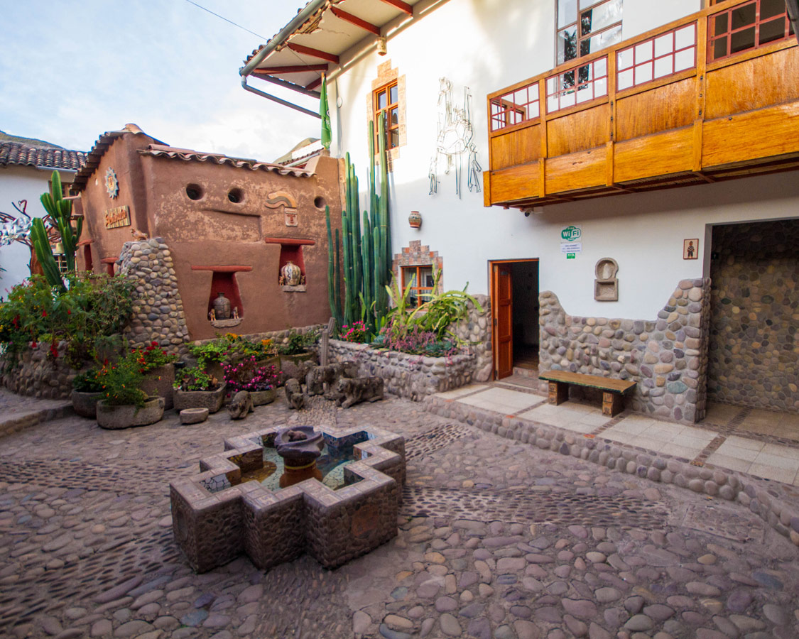 The courtyard of the Pablo Seminario workshop Taller Ceramica in Urubamba Peru. This is a wonderful spot for those interested in Ceramics painting for kids in Peru