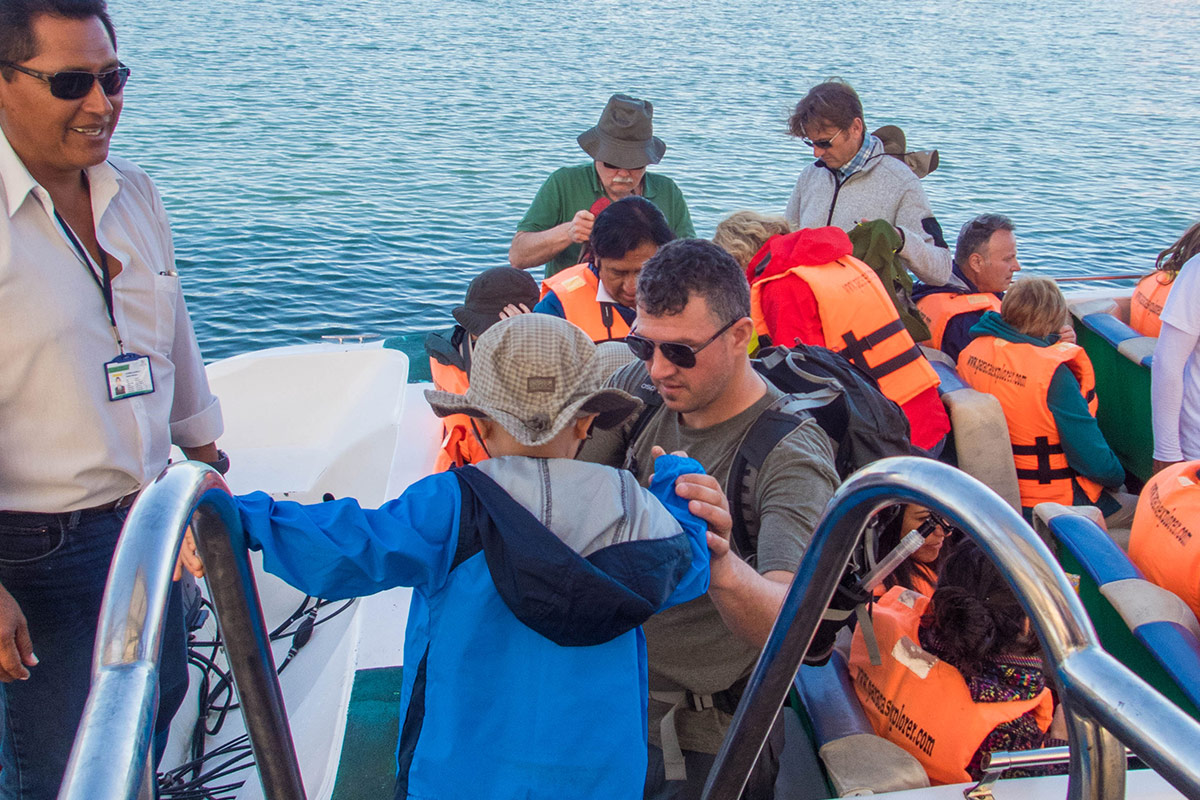 D boards a Paracas Explorer boat in Paracas Peru to see the Ballestas Islands National Reseve