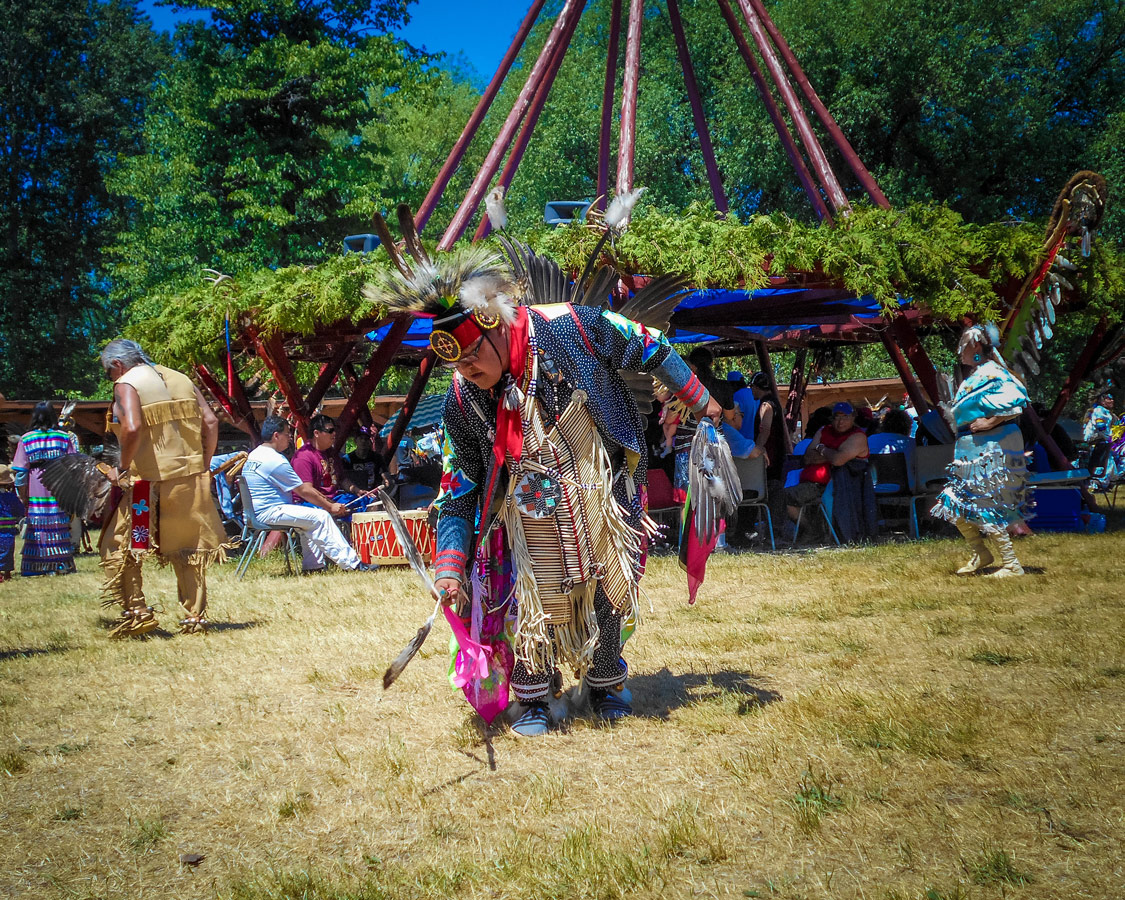 An elder dancers at a Pow Wow in Sheguiandah Manitoulin Island. A visit to a Pow Wow is one of the greatest things to do on Manitoulin Island