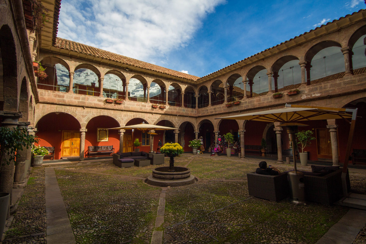 The main garden of the Hotel Costa del Sol Ramada, one of the best places to stay in Cusco Peru