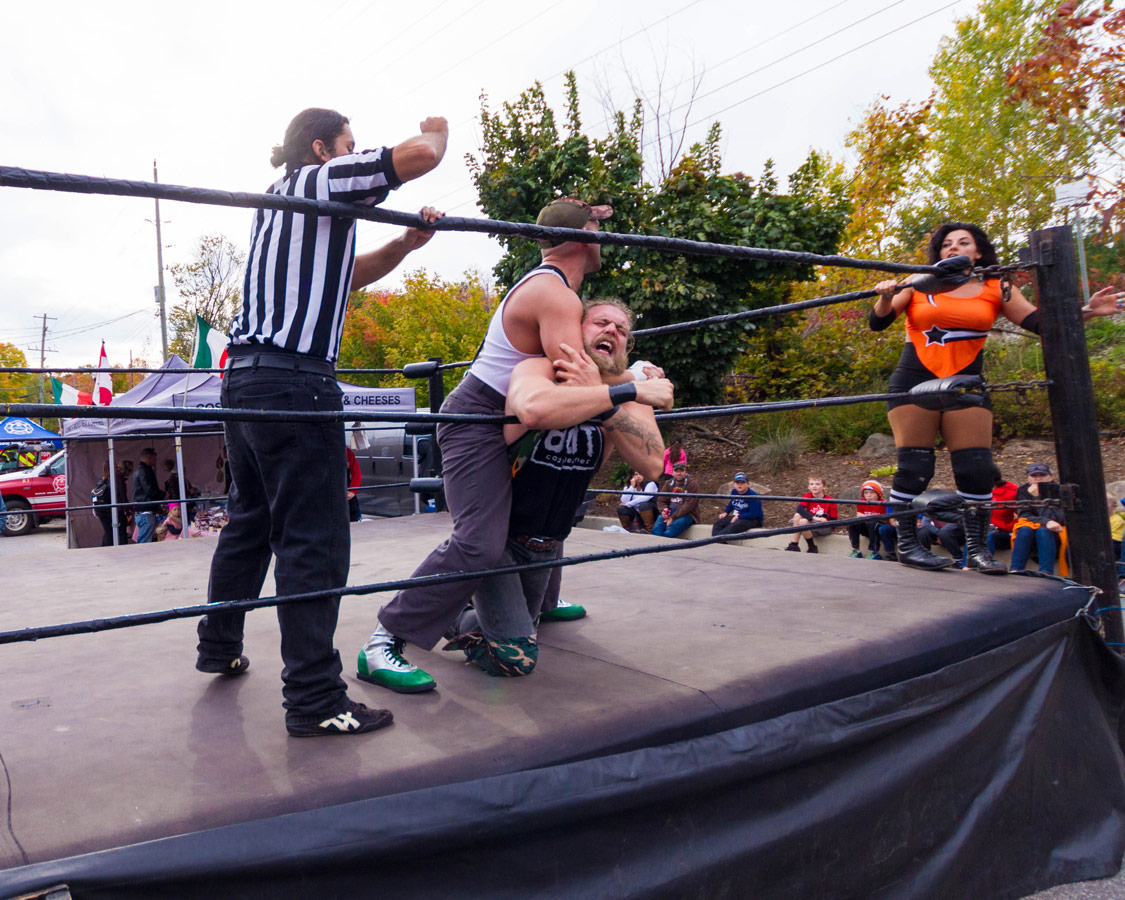 Professional wrestlers put on a show at the Bala Cranberry Festival
